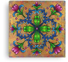 Mandala of the Green Beetles Canvas Print