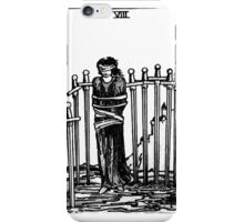 Black and White Eight of Swords Tarot Card  iPhone Case/Skin