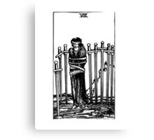 Black and White Eight of Swords Tarot Card  Canvas Print