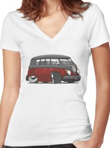 VW T1 Microbus cartoon black/red Women's Fitted V-Neck T-Shirt