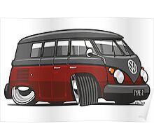 VW T1 Microbus cartoon black/red Poster