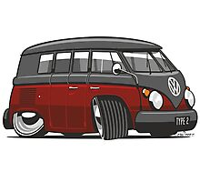 VW T1 Microbus cartoon black/red Photographic Print