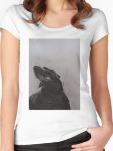 Black and white drawing, Labrador Retriever Women's Fitted Scoop T-Shirt