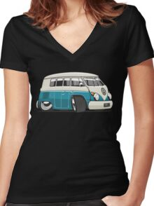 VW T1 Microbus cartoon turquoise Women's Fitted V-Neck T-Shirt