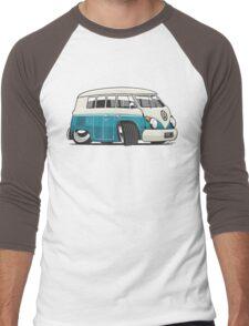 VW T1 Microbus cartoon turquoise Men's Baseball ¾ T-Shirt