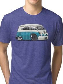 VW T1 Microbus cartoon turquoise Tri-blend T-Shirt