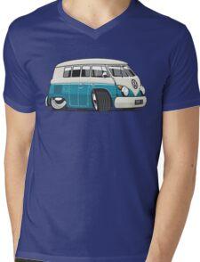 VW T1 Microbus cartoon turquoise Mens V-Neck T-Shirt
