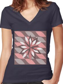 Pink and grey blossom  Women's Fitted V-Neck T-Shirt