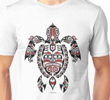 The Traveler - Original Haida, Tlingit Sea Turtle Art - Red Unisex T-Shirt