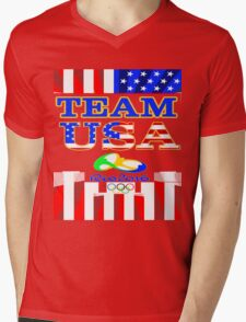 Team USA Rio 2016 Olympics Mens V-Neck T-Shirt
