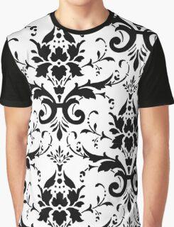 Damask Black White Pattern Design Graphic T-Shirt