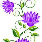 Purple And green Abstract Flowers Illustration by artonwear