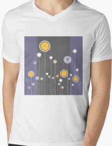 Retro Floral Pattern Mens V-Neck T-Shirt
