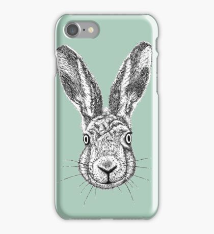 Hare Portrait Ink Drawing iPhone Case/Skin