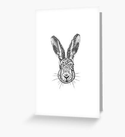 Hare Portrait Ink Drawing Greeting Card