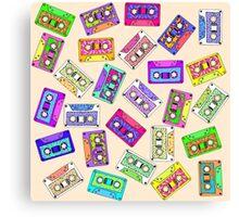 Retro 80's 90's Neon Patterned Cassette Tapes Canvas Print