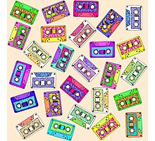 Retro 80's 90's Neon Patterned Cassette Tapes Photographic Print