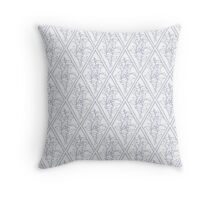 Periwinkle Blue White Floral Diamond Pattern Throw Pillow