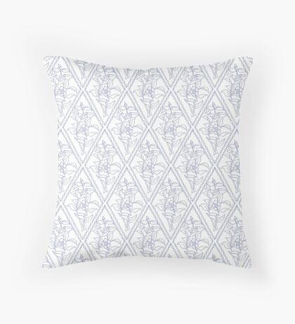 Periwinkle Blue White Floral Diamond Pattern Throw Pillow