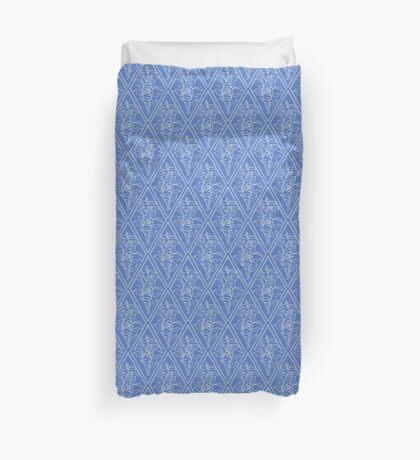 Chic Periwinkle Blue Floral Diamond Pattern Duvet Cover