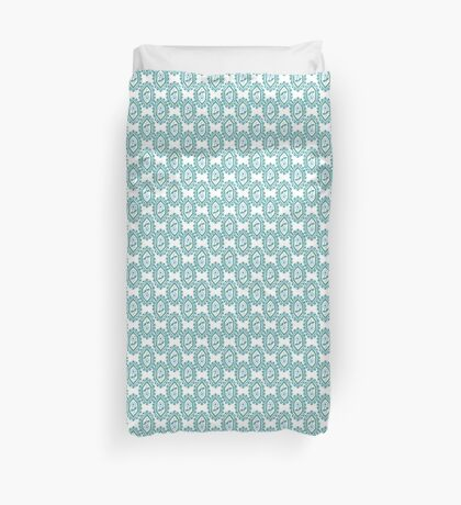 Chic Blue White Green Vintage Periwinkle Floral Pattern Duvet Cover