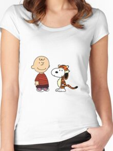 calvin and hobbes meets peanuts Women's Fitted Scoop T-Shirt
