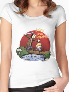calvin and hobbes meets jason Women's Fitted Scoop T-Shirt