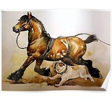 Bulldog And Draft Horse Poster