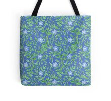 Country-style Blue Green Floral Periwinkle Pattern Tote Bag