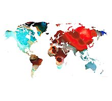 Map of The World 5 -Colorful Abstract Art Photographic Print