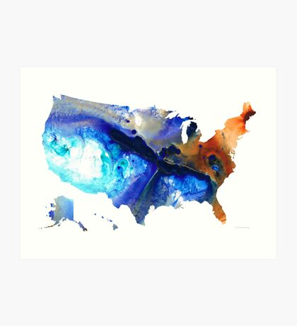 United States of America Map 7 - Colorful USA Art Print