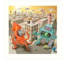 Robot vs. Squid Art Print