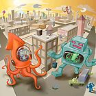 Robot vs. Squid by nate-bear