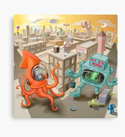 Robot vs. Squid Canvas Print