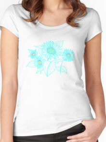 Teal Sunflowers Women's Fitted Scoop T-Shirt