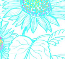 Teal Sunflowers Sticker