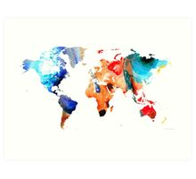 Map of The World 8 -Colorful Abstract Art Art Print