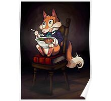 Fox Eating a Bowl of Steak Poster