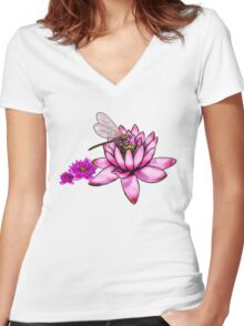 Dragonfly Lotus  Women's Fitted V-Neck T-Shirt
