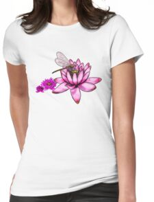 Dragonfly Lotus  Womens Fitted T-Shirt
