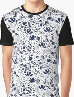 Floral navy on white  Graphic T-Shirt