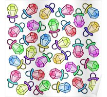Retro 80's 90's Neon Colorful Ring Candy Pop Poster