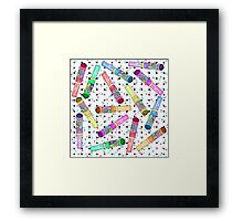 Retro 80's 90's Neon Colorful Push Candy Pop Framed Print