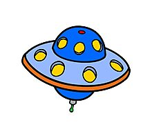 Cartoon UFO Flying Saucer Photographic Print