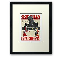 Godzilla/Ultraman/Kikaida - fight poster Framed Print