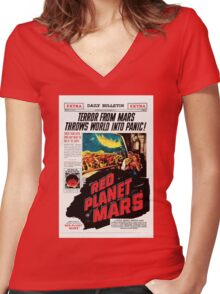 Red Planet Mars! Women's Fitted V-Neck T-Shirt