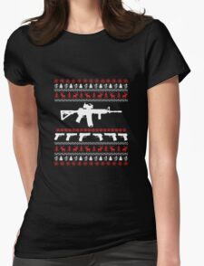 AR 15 Ugly Christmas Sweater Womens Fitted T-Shirt