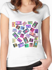 Retro 80's 90's Neon Patterned Cassette Tapes Women's Fitted Scoop T-Shirt
