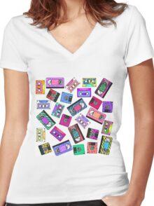 Retro 80's 90's Neon Patterned Cassette Tapes Women's Fitted V-Neck T-Shirt