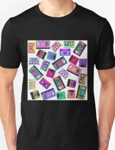 Retro 80's 90's Neon Patterned Cassette Tapes Unisex T-Shirt